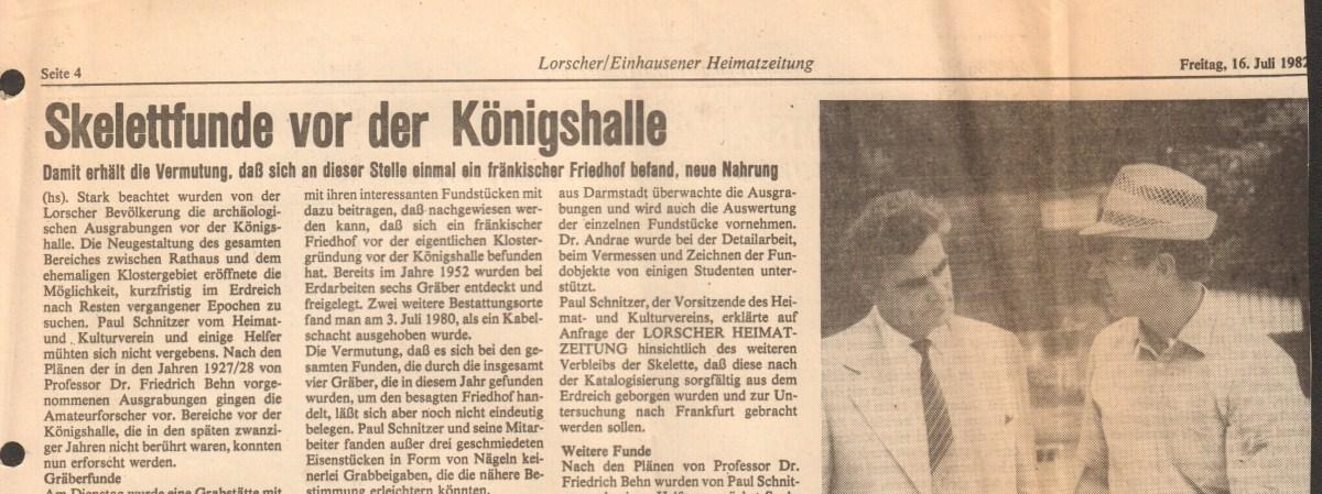 820716 Lorscher Einhausener Heimatzeitung Skelettfunde vor der Königshalle Header